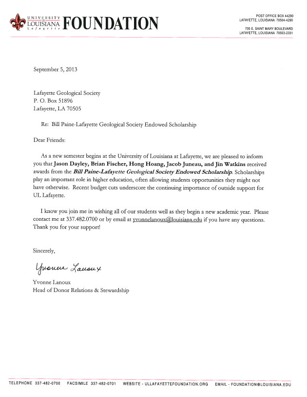 scholarship acceptance thank you letter