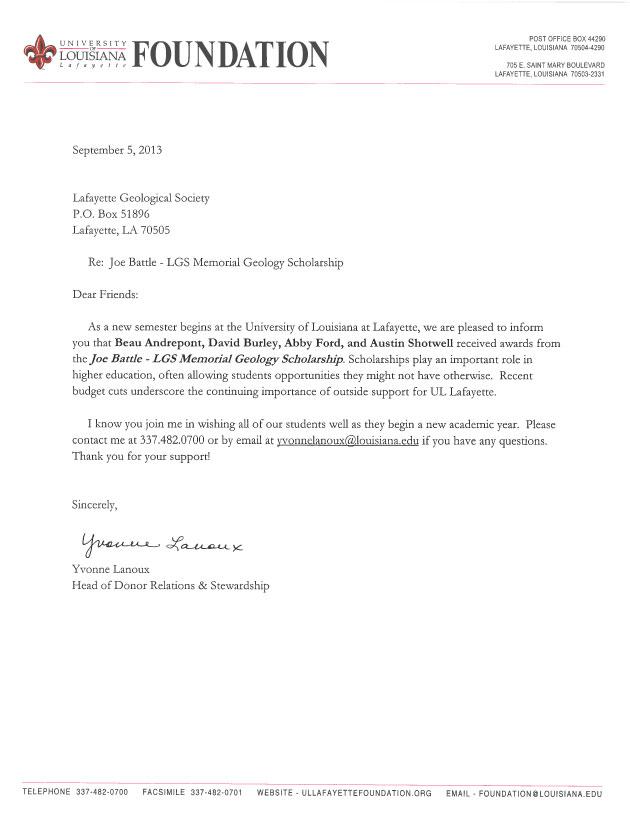 Scholarships  LafayettegeologicalsocietyOrg